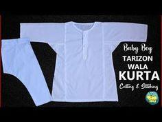 Tarizon Wala Kurta Cutting and Stitching in Hindi/Urdu ll Eid Special Kids Gown Design, Boys Kurta Design, Kids Frocks Design, Baby Frocks Designs, Kurta Patterns, Kids Dress Patterns, Baby Clothes Patterns, Clothing Patterns, Sewing Kids Clothes