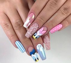 45 Pretty Summer Matte Nails Art Designs You Must Try In 2020 - Nail trends and colors change with the seasons.Fashionable girls like matte nails which look very e - Disney Acrylic Nails, Summer Acrylic Nails, Best Acrylic Nails, Matte Nails, Gel Nails, Summer Nails, Gel Nail Polish, Disney Nails Art, Disney Manicure