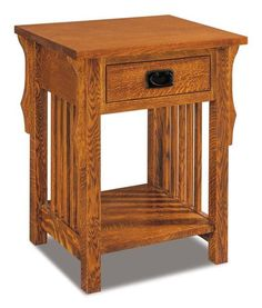 Amish Stick Mission One Drawer Open Nightstand Select the wood, stain and hardware and bring home a handcrafted beauty for your bedroom. Unique features to choose from include touch night light, slide out water tray, security tray and charging station. Amish made in America. #nightstands