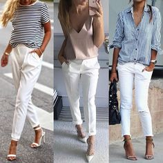 New Ideas For Moda Primavera Casual Chic White Pants White Pants Outfit, White Outfits, Casual Outfits, Fashion Outfits, Womens Fashion, Fashion Clothes, Fashion News, Look Chic, Everyday Outfits