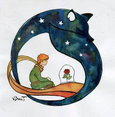 """watercolour inspired by """"The little Prince - Antoine de Saint-Exupery"""" Acuarela y tinta china El principito Little Prince Quotes, Little Prince Tattoo, The Little Prince, Prince Drawing, Prince Tattoos, Tinta China, Kids Room Wall Art, Art Drawings, Watercolor Paintings"""