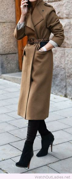 Camel coat with a nice leo belt
