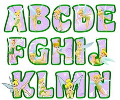 printable tinkerbell letters A-N (lavender)