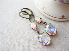 Northern Lights. Aurora Borealis Earrings. Vintage glass jewels. Antiqued brass. Old Hollwood glam.