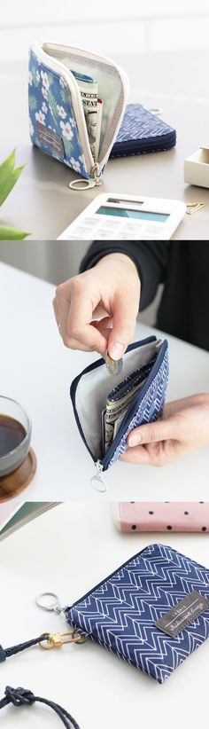 Keep it together! Your cash, that is~ This lovely wallet has a convenient change pocket for your coins, and you can wrap your bills around it to keep them neat! It also works as a separator so you can organize all of your cards on either side. Beautiful and smart, I like it!