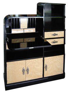 American Art Deco Black Lacquer & Birdseye Secretary Cabinet/Desk