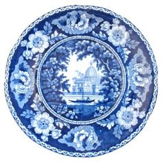 Check out this item at One Kings Lane! Dark Blue Staffordshire Plate, C. 1830