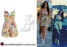 Buy Selena Gomez's Floral Print Playsuit and White Sandals, here!