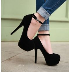 Womens Faux Suede Platform Ankle Strap Stilettos High Heels Fashion Pumps Shoes in Clothing, Shoes & Accessories, Women's Shoes, Heels Black High Heels, High Heels Stilettos, Women's Pumps, Stiletto Heels, Platform Pumps, Red High, Sexy Heels, Suede Pumps, Pretty Shoes
