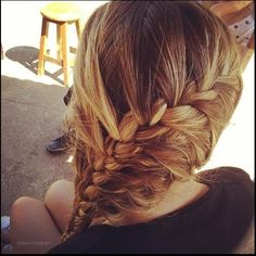 cute thick braided hair perfect for after school!