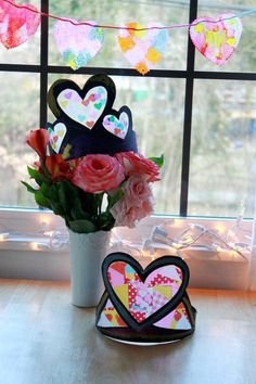 Stained Glass Heart Crowns for Valentine's Day - fun kids craft