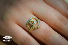 Diamond Heart Ring Knot Gold Ring Heart Knot by TiorkinJewelry