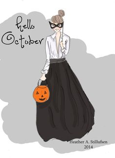 Hello October! Heather Stillufsen Rose Hill Designs on Facebook and Etsy. Cards and Calendars, prints and custom illustrations
