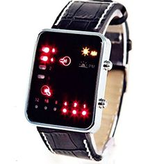 Cool Design Mens Womens Black Binary Red LED Digital Leather Band Wrist Watch >>> You can get more details by clicking on the image.