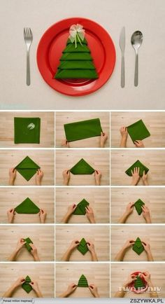 Serviettes de table - présentation en sapin