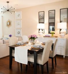 Are you searching for decorating tricks for your small dining room? You've arrived at the ideal place! A small dining room may appear comfy and give a location to enjoy a nice meal together with friends or family. Dining Room Walls, Dining Room Design, Mirrors In Dining Room, Dining Living Room Combo, Living Room Lamps, Ikea Dining Room, Small Apartment Living, Small Dining Table Apartment, Small Room Design