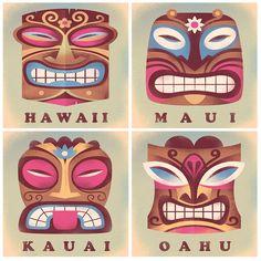 Tiki gods, Hawaii, graphic illustration, Martin Wickstrom Maui Hawaii, Kauai, Tiki Bar Decor, Graphic Illustration, Color Schemes, R Color Palette, Colour Schemes, Color Palettes, Ankara Dress