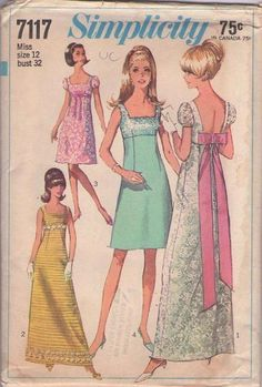 MOMSPatterns Vintage Sewing Patterns - Simplicity 7117 Vintage 60's Sewing Pattern INCREDIBLE Mod Sequin Top Empire Waist Cocktail Party Dress, Wedding Gown with Bare Back & Bow