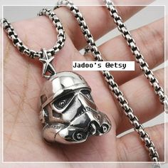 Star Wars inspired Pendant necklace Stormtrooper Helmet by Jadoos
