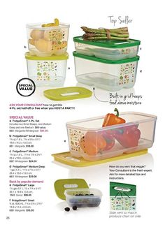 Tupperware FRIDGESMART CONTAINERS to keep Fruits and Vegetables fresh longer (more shown on separate pin).......Visit my website to see more Tupperware offers via: www.my.tupperware.com/KarinMcClelland  You may place an order to be shipped directly to you from my website or if you are in Northwest Arkansas you may contact me via email at: KarinsTupperware@aol.com to place an order
