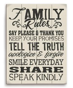 Loving this Crème 'Family Rules' Wood Wall Art on #zulily! #zulilyfinds