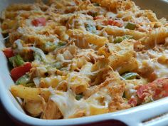 Chicken fajita pasta bake - really easy and yummy, will double it next time and freeze one, may also try with medium salsa instead of mild, will definitely make again