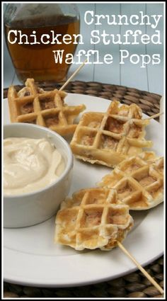 Crunchy Chicken Stuffed Waffle Pops Recipe - chicken and waffles as an appetizer or snack all in one bite with a Maple Dijon Dip! snappygourmet.com