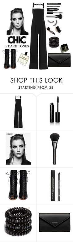 """""""Dark Tones."""" by emi-the-queen ❤ liked on Polyvore featuring Mary Katrantzou, Bobbi Brown Cosmetics, Lord & Berry, Gucci, Gianvito Rossi, Korres, Invisibobble, Balenciaga, chic and black"""
