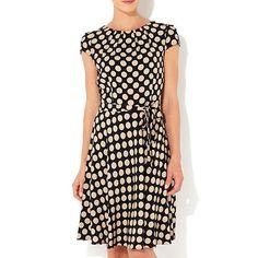Wallis Black polka dot dress- at Debenhams.com