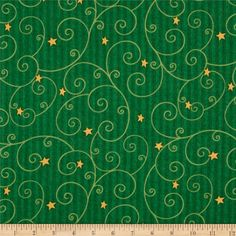 Believe Scroll/Stripe Green from @fabricdotcom  Designed by Shelly Comiskey for Henry Glass & co.,this cotton print fabric is perfect for quilting, apparel and home decor accents. Colors include shades of green and gold.