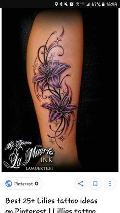tattoo - tattoos - tattoo - brenda o. - Side tattoo – tattoos – – -Side tattoo - tattoos - tattoo - brenda o. - Side tattoo – tattoos – – - Bewertungen und Kommentare zu diesem Tattoo findest Du bei Tattoo- blue and purple lilly flower tattoos Vine Tattoos, Mom Tattoos, Body Art Tattoos, Tattoos For Women, Sleeve Tattoos, Tatoos, Tattoo Art, Lily Flower Tattoos, Flower Tattoo Designs