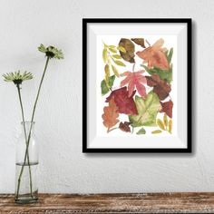 Autumn Leaves print Leaves art print Indian by TheJoyofColor
