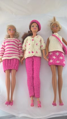 "Mix n match Barbie outfits in pink and white. Fashion doll outfits. 12""doll clothes. 6 items of clothing plus hat bag and shoes. by Nobodyknitsitbetter on Etsy"