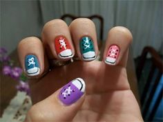 Converse nails - these are super cute.