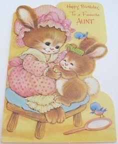 Unused Vtg Birthday Card Die-Cut Cute Bunnies with Bluebirds Vintage Birthday Cards, Vintage Cards, Happy Birthday Aunt, Cute Bunny, Birthday Greetings, Blue Bird, Baby Animals, Bunnies, Birthdays