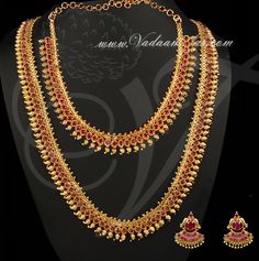 Ruby stones gold plated Short and Long Necklace Set with Ear studs