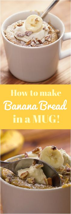 Follow this formula when you need homemade moist banana bread RIGHT NOW: mug + microwave + 1 ripe banana + 5 minutes = your banana bread quick fix.