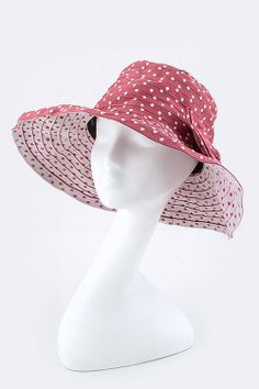 Shelter from the sun with this polka hat! Wholesale Clothing, Shelter, Polka Dots, Bows, Hat, Fashion, Arches, Chip Hat, Moda