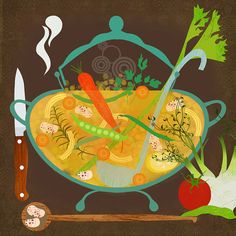 Minestrone ( by Elisandra / sevenstar from Etsy ) #illustrated #food $21.00
