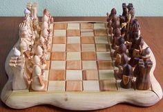 Jogo de Xadrez entalhado à mão