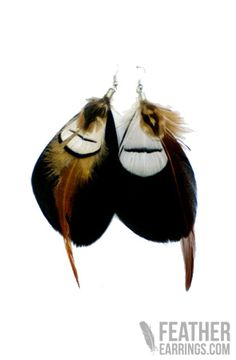 Pilgrim Black Goose Feather and White Pheasant Feather Earrings $17.99