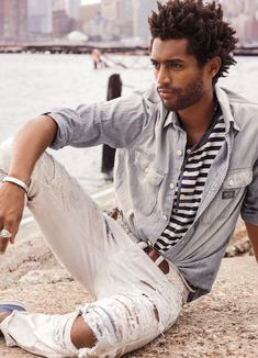 City & Sea: Nautical styles updated with a rugged edge. Ripped-and-repaired jeans from Denim & Supply Ralph Lauren are designed to look like old favorites.