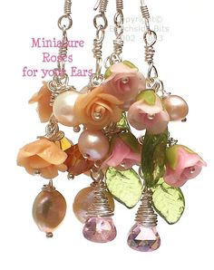 Who doesn't LOVE roses? PINK MINIATURE ROSES Artist Flower Earrings by BeachsideBits, $39.00