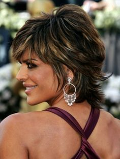 Lisa Rinna Layered Short Shag Haircut maybe in between