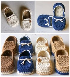 Items similar to Crochet Baby boy sailor shoes, baby loafers on Etsy Resultado de imagen para Free Crochet Baby Sailor Hat Pattern/etsy*com You will love this Crochet Moccasins Tutorial and we have a free pattern, video tutorial plus show you how to make Crochet Baby Boots, Crochet Sandals, Crochet Socks, Booties Crochet, Crochet Baby Clothes, Crochet For Boys, Free Crochet, Knit Socks, Knitting Socks
