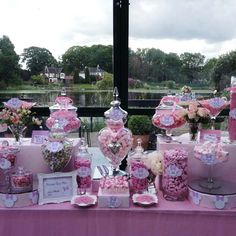 Candy Buffet Pink Minnie Mouse - Candy Buffets l Sweetie Tables l Dessert Tables l Handmade truffles and Chocolate Gifts by the Sweetie Factory Wedding Candy Table, Unique Wedding Favors, Wedding Desserts, Wedding Centerpieces, Buffet Wedding, Wedding Cake, Wedding Ideas, Buffet Dessert, Dessert Tables