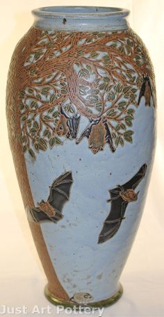 Common Ground Pottery | 2005 | Night Flight | Bat, Moth, and Mouse | Floor Vase