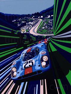 "frenchcurious: ""Pedro Rodríguez & Leo Kinnunen (Porsche 917K) 1000 Km de Spa-Francorchamps 1970 - Illustration de Tim Layzell - Atomic Samba. """