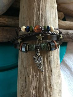 """Leather Multi Strand Bracelet with Dragon Charm Wood Beads Stars 7"""" - 9"""" Brown…"""