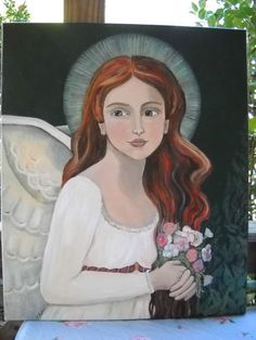 Original Folk Art Angel Painting Large 24x20 | eBay